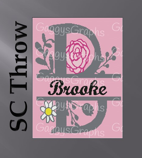 Split Monogram --B is for Brooke -- Throw SC, Graph + Color coded block written