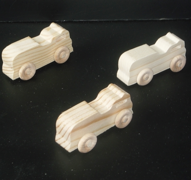 Pkg of 3 Handcrafted Wood Toy Fire Truck 157AAH-U-3 unfinished or finished