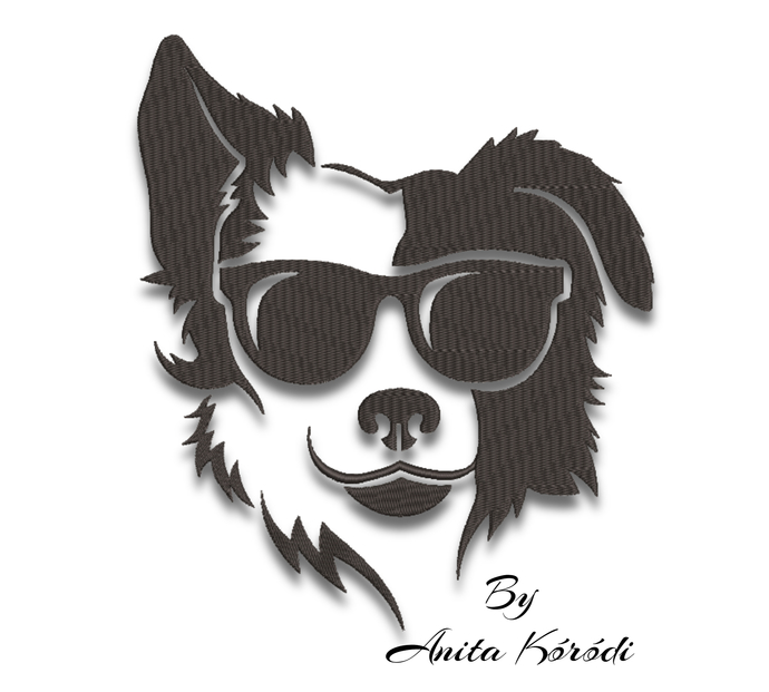 Border Collie embroidery design machine pattern sunglasses pes