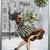 Christmas Lady and Mistletoe Digital Collage Greeting Card3087