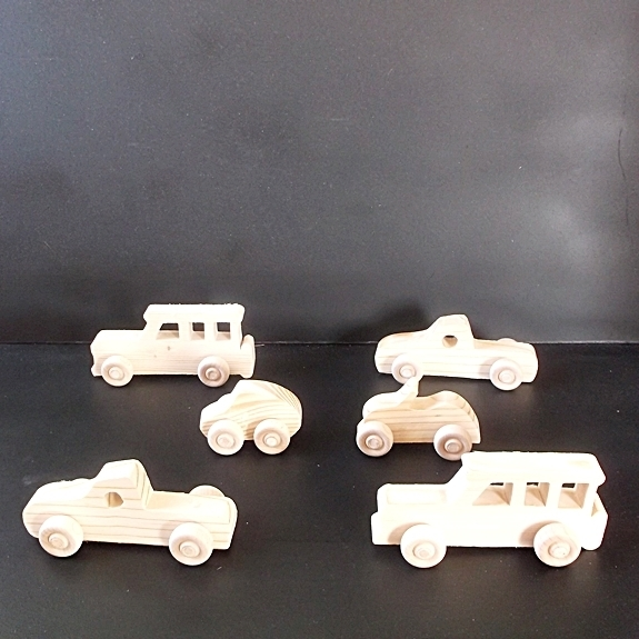 6 Handcrafted Wood Toy Cars, SUVs, Pickups  OT- 31 unfinished or finished
