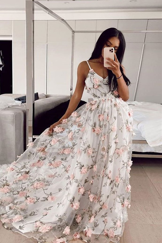 Beautiful Floral V-neckline Straps Long Party Dress, Prom Dress Evening Gown