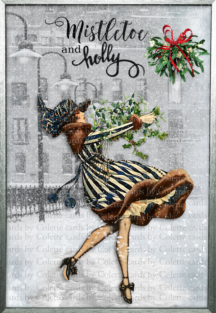 Winter Lady, Mistletoe and Holly Greeting Card3087a