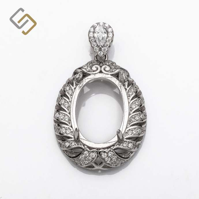 Oval Pendant with Cubic Zirconia Inlays and Oval Mounting and Bail in Sterling