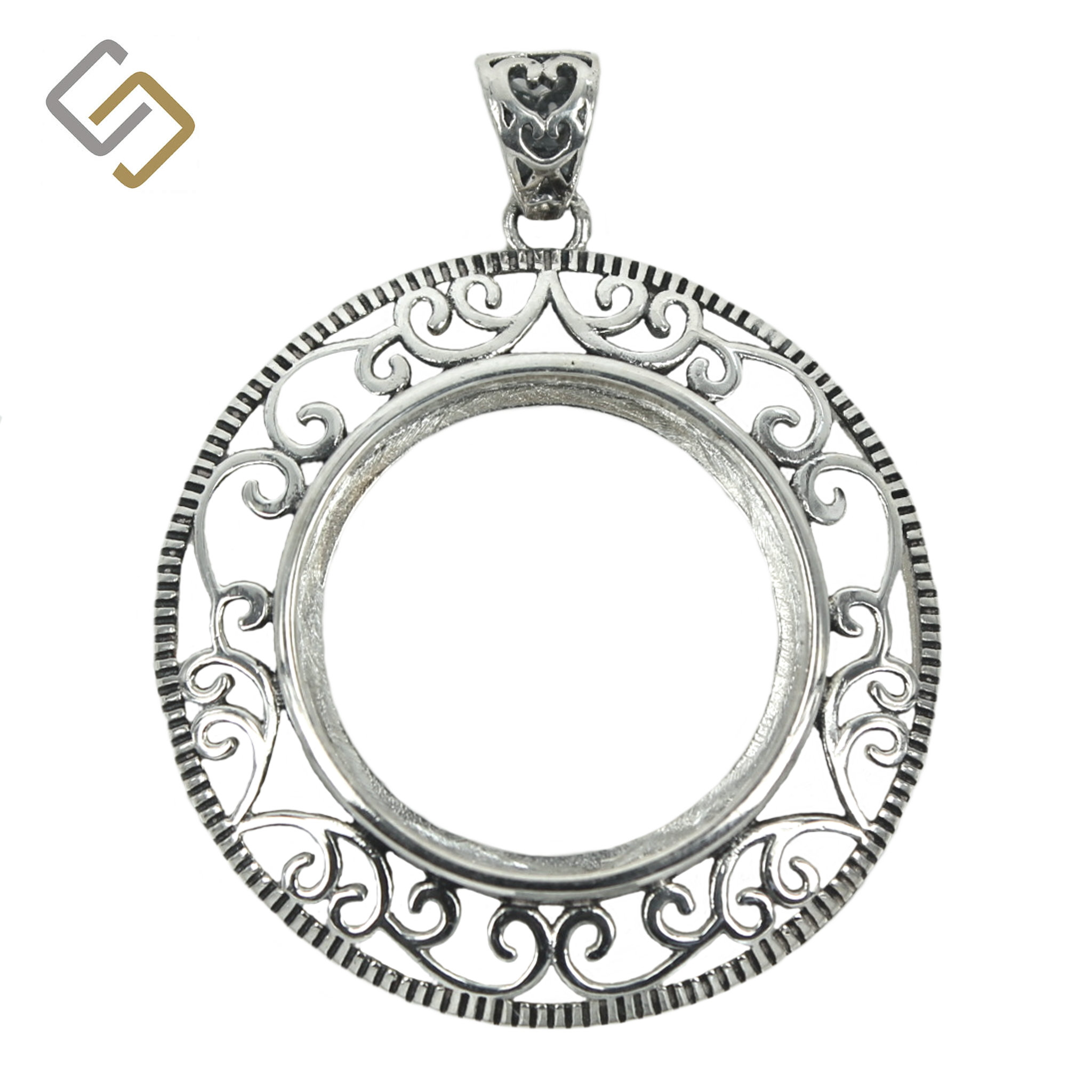Oval rococo bezel pendant with soldered loop /& bail in sterling silver.
