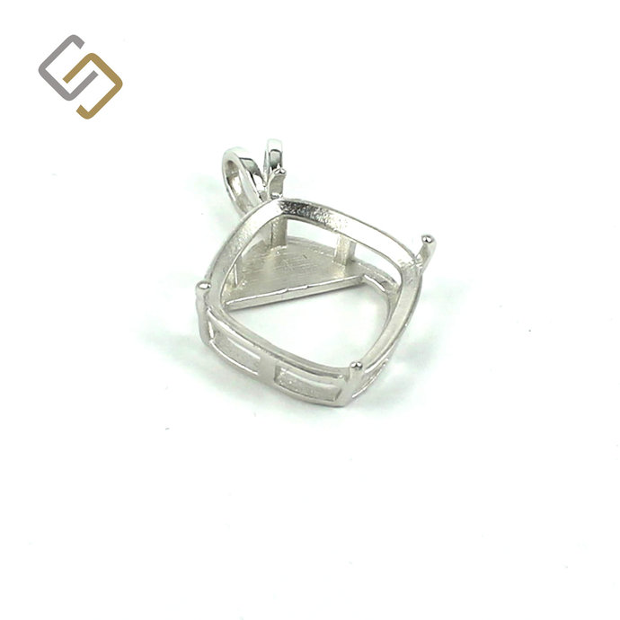 Basket Pendant with Deep Diamond Mounting in Sterling Silver