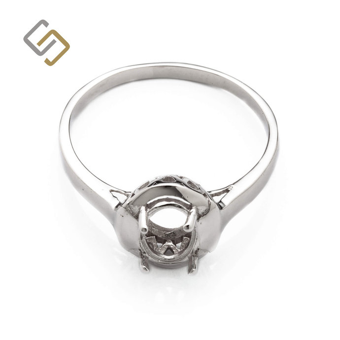 Binding Ring with Oval Prongs Mounting in Sterling Silver for 7mm x 9mm Stones