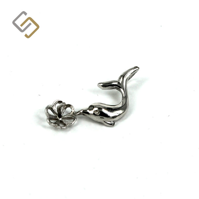Dolphin Pendant with Cup and Peg Mounting in Sterling Silver