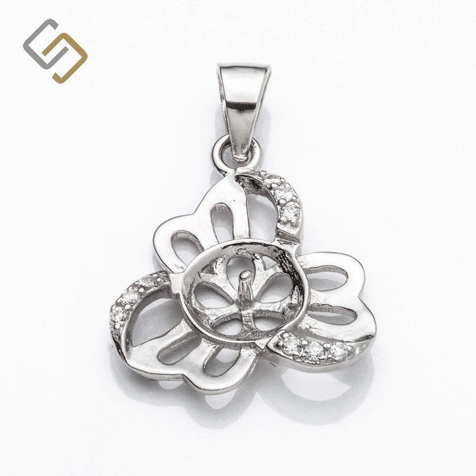Clover Pendant with Cubic Zirconia Inlays and Cup and Peg Mounting and Bail in