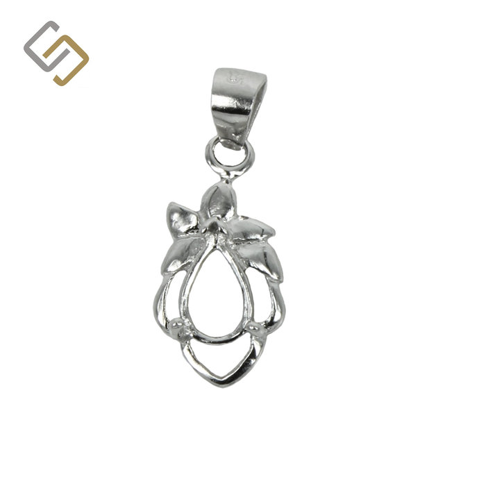 Flourish Decorated Pear Shaped Pendant in Sterling Silver for 3mm x 5mm Oval