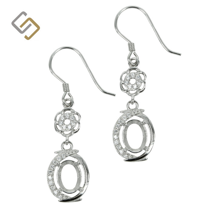 Earrings with Cubic Zirconia Inlaid Oval Setting in Sterling Silver for 5x7mm