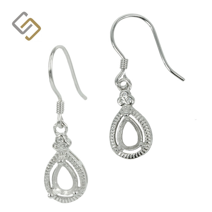 Earrings with Cubic Zirconia Trio Pear Setting in Sterling Silver for 3x5mm Pear