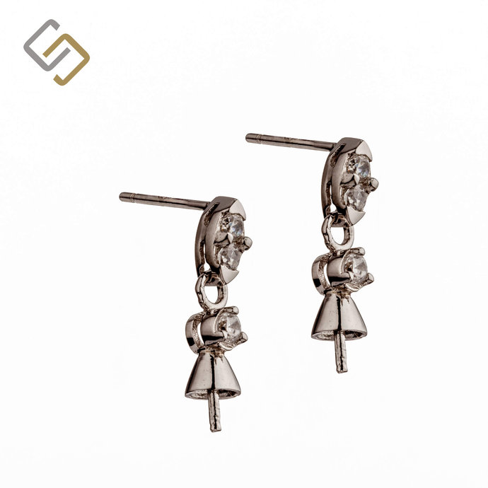 Ear Studs with Cubic Zirconia Inlays and Dangling Cup and Peg Mounting in