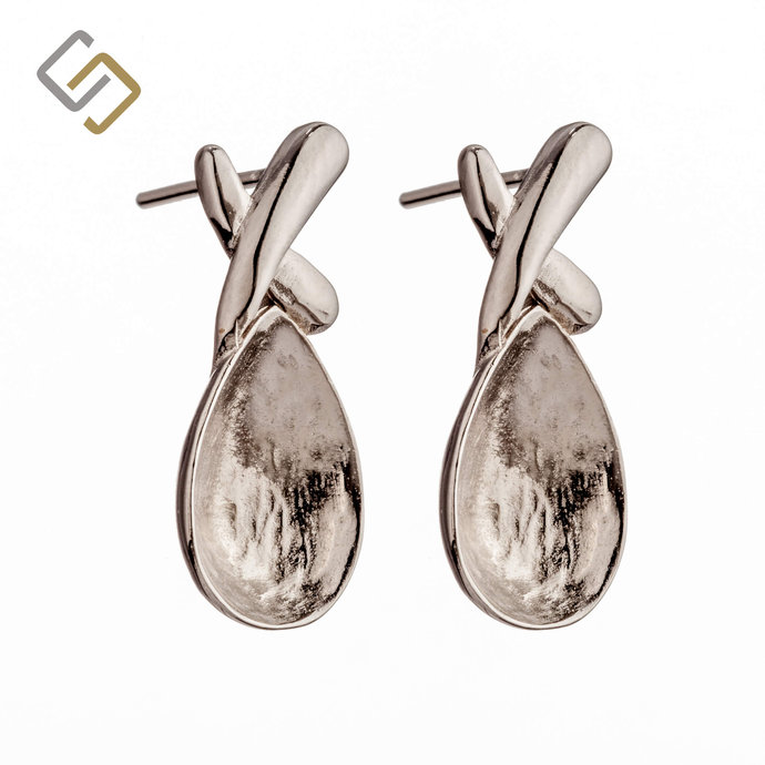Ear Studs with Pear Shape Bezel Mounting in Sterling Silver