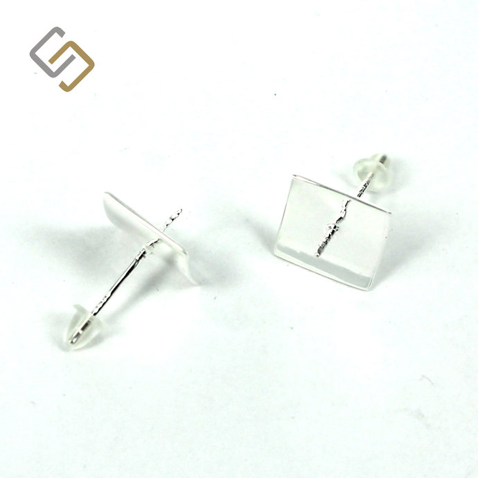 Ear Studs with Rectangular Bezel and Peg Mounting in Sterling Silver