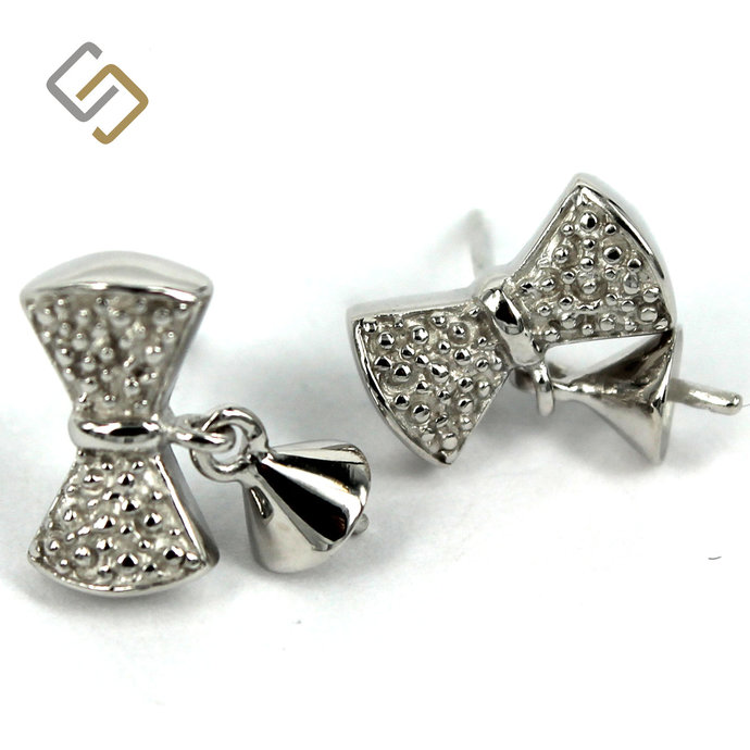 Bow Shape Ear Studs with Dangling Cup and Peg Mounting in Sterling Silver