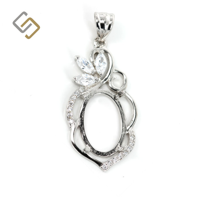 Decorated Oval Pendant with Cubic Zirconium Inlays in Sterling Silver for 10mm x