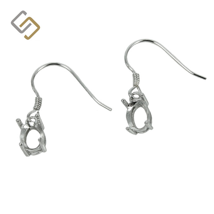 Earrings with 5x7mm Oval Basket Setting in Sterling Silver