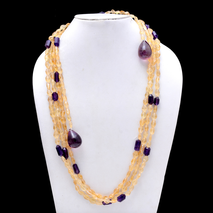 Citrine Faceted Beads Necklace, Citrine Faceted Beads,Citrine Carved Amethyst