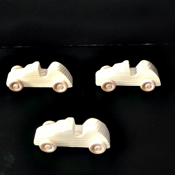 Pkg of 3 Handcrafted Wood Toy Race Cars 71AAH-U-3 finished or unfinished