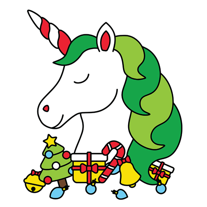 Cute christmas unicorn head with christmas Svg