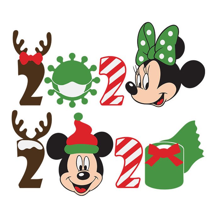 Mickey and Minnie Christmas 2020 Quarantine SVG files