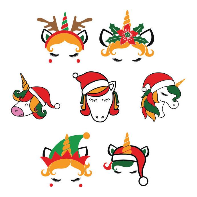 Christmas Unicorn Face Bundle Christmas,Christmas Svg, Cricut File