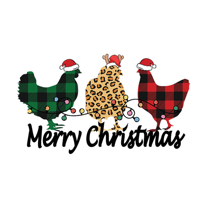 Merry Christmas Chickens PNG File Digital Download