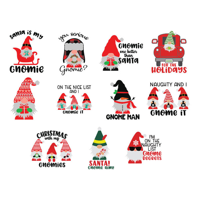 Christmas Gnome SVG Bundle, Christmas SVG Bundle Svg Files for Cricut