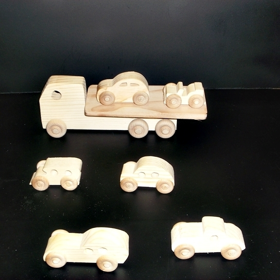 7 Handcrafted Wood Toy Cars, Truck & Jeep   OT- 39 unfinished or finished