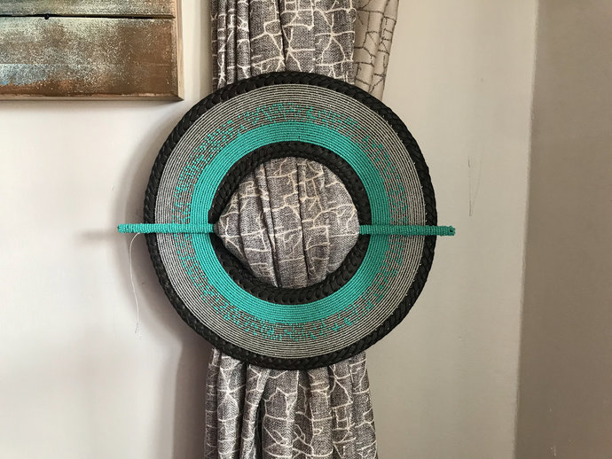 2pcs Green & Sliver Bohemian Bead and Curtain holder, Curtain Decor Accessories,