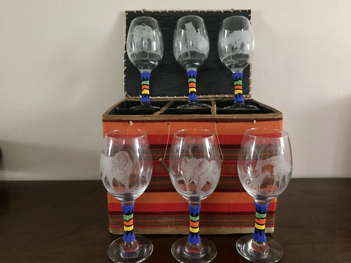 6pcs engraved wine glasses with Africa's Big 5, wedding gift, Anniversary gift,