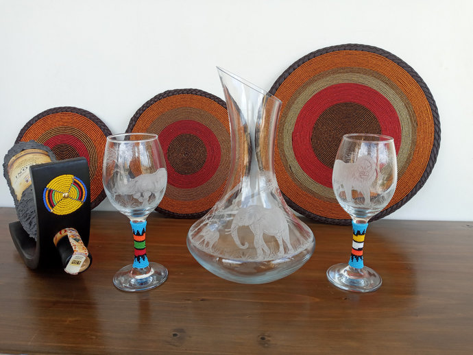 Wine Gift set (Decanter, 2 wine glasses and Wine holder), wedding gift,