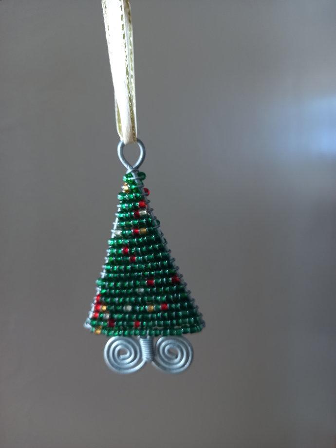 Pine beaded miniature Christmas trees ornament, home Decor, christmas gift,