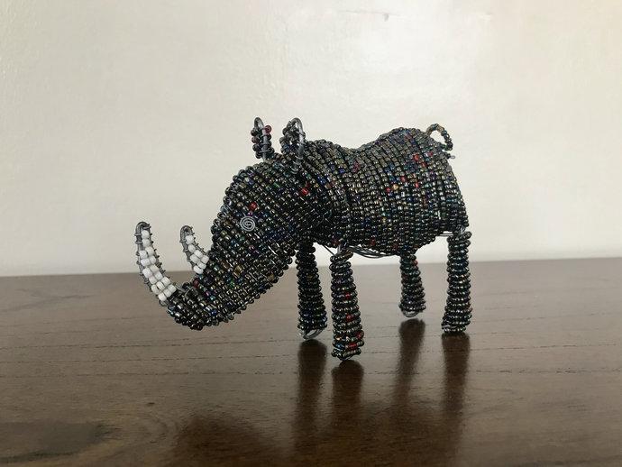 Rhino handcrafted figurine, Christmas gift, Christmas decor, Animal lover, Cute