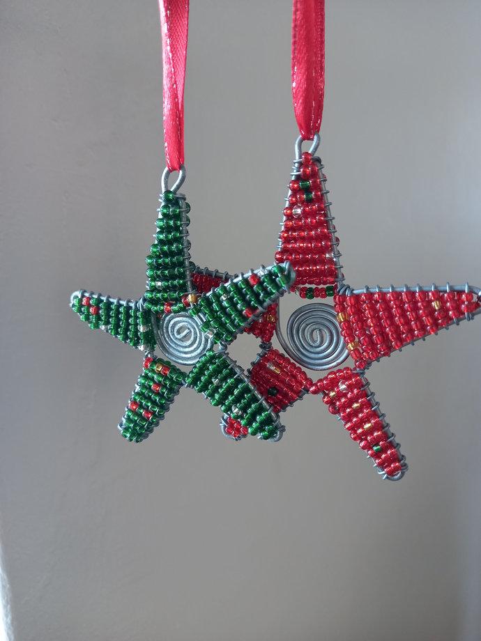 Star beaded miniature Christmas trees ornament, Christmas decor, office decor,