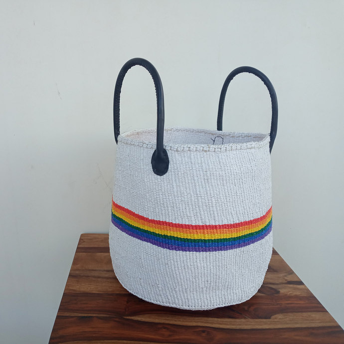White & Rainbow color African handwoven Baskets