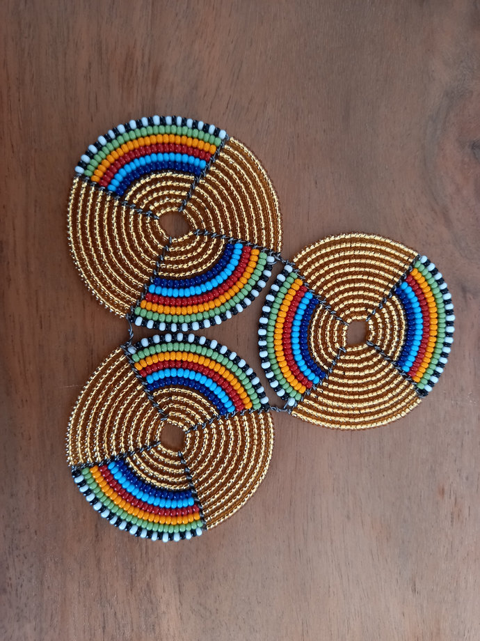 Set of 6 handcrafted beaded coasters,