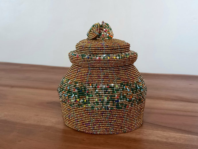 Gold, Green, multicolored handcrafted jewelry box, beaded jewelry box, Trinket