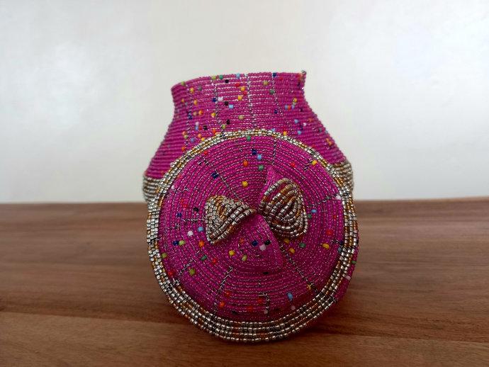 Pink & silver handcrafted jewelry box, beaded jewelry box, Trinket organizer,