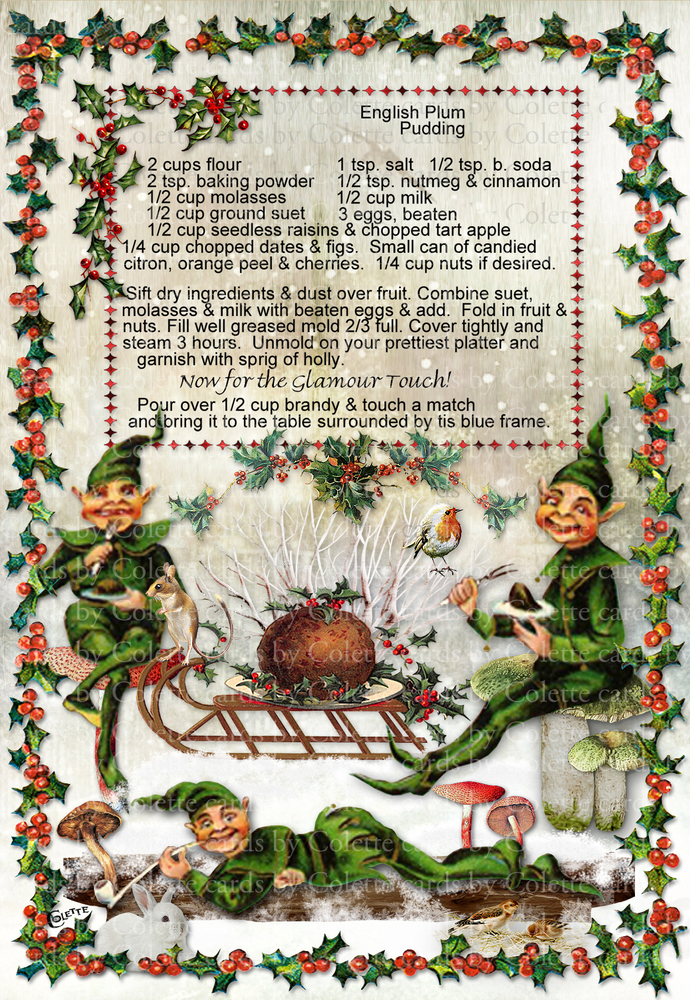 Christmas Plum Pudding Recipe Digital Collage Greeting Card3089