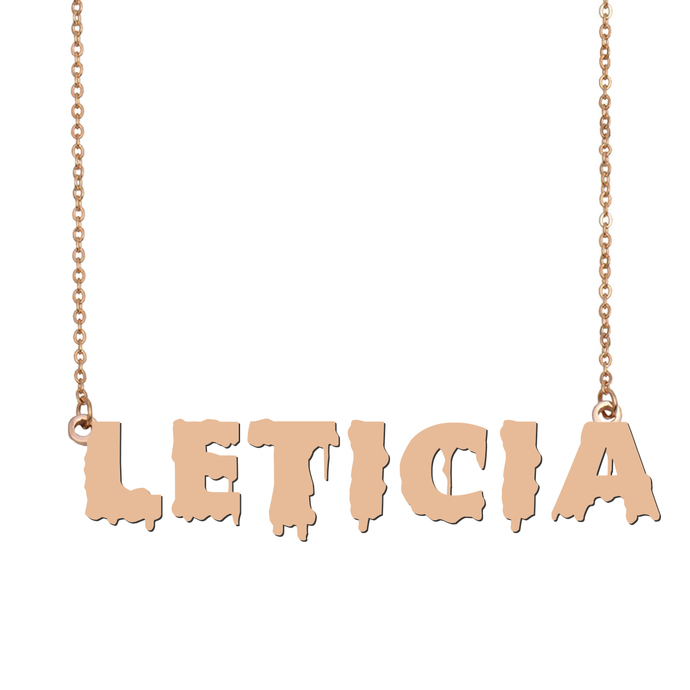 Custom Leticia Name Necklace Personalized Gift for Halloween Easter Christmas