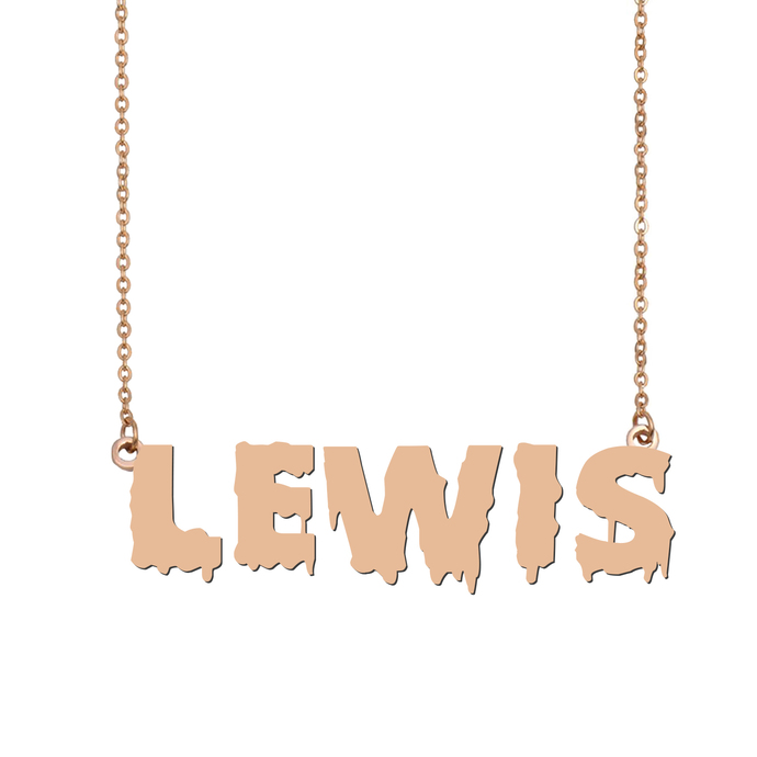 Custom Lewis Name Necklace Personalized Gift for Halloween Easter Christmas