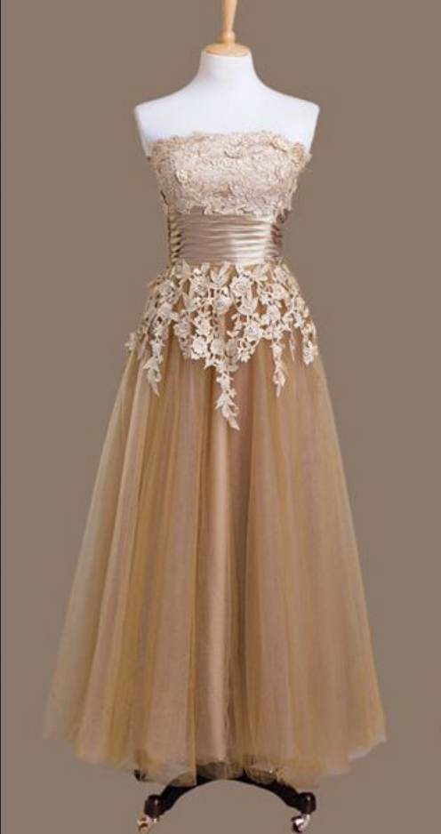 Elegant Champagne Tulle Party Dress, Wedding Party Dress Prom Dress