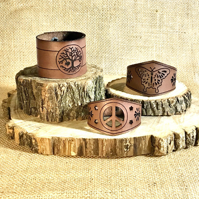 Tree of Life Leather Cuff Bracelet with Butterfly and Peace Sign options and a