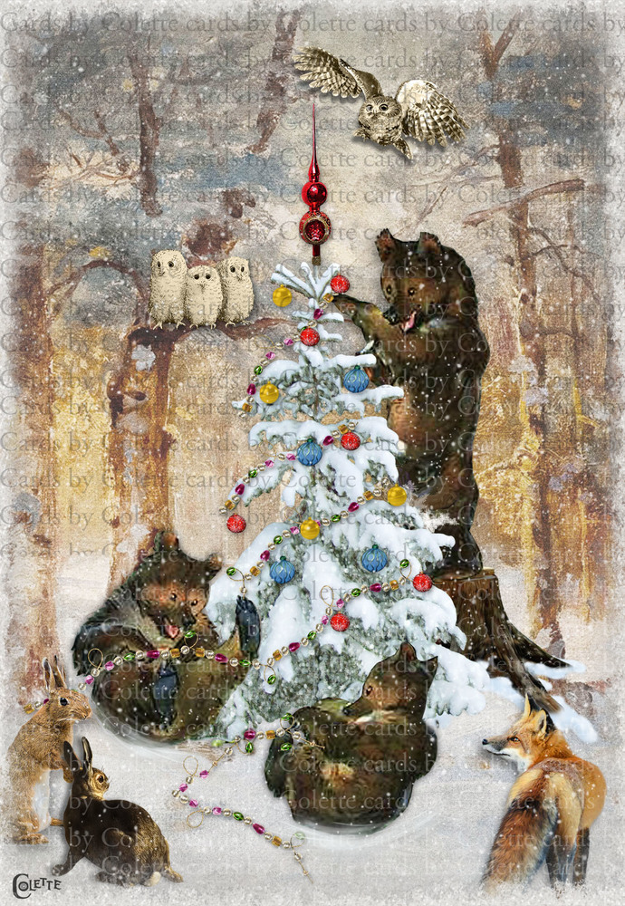 Christmas Bears and Curious Animals Digital Collage Greeting Card3089