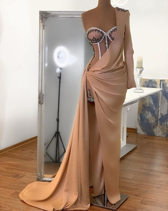 one shoulder champagne evening dresses long beaded sweetheart neck elegant