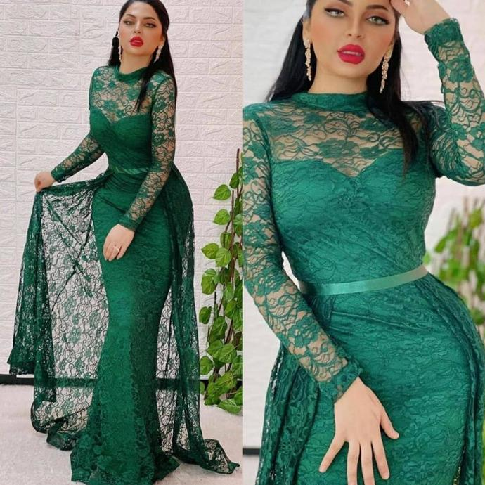 hunter green lace evening dresses long sleeve applique dubai muslim arabic