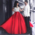 2 piece prom dresses 2020 red handmade flowers elegant a line satin prom gown