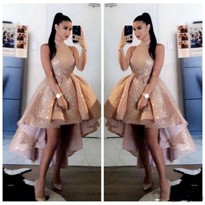 rose gold prom dresses 2021 high low sparkly arabic elegant arabic prom gown